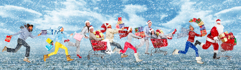 Happy people running with Christmas gifts.