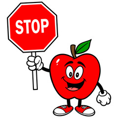 Apple with Stop Sign