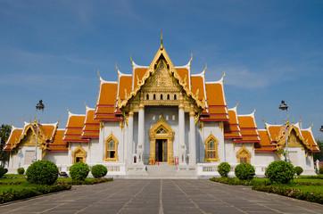 The Marble Temple at Wat Benchamabophit, Bangkok, Thailand.