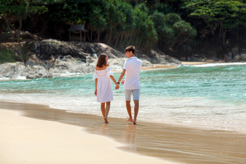 couple walking on beach together, back view
