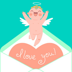 Valentine's Day card with cute Cupids and hearts.