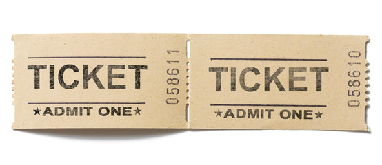 old vintage paper tickets pair isolated