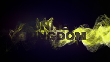 United Kingdom Gold Text in Particles