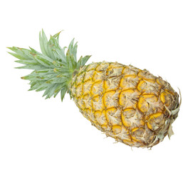 yellow pineapple isolated on white background with clipping path