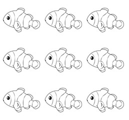 Layered of isolated Clownfish with white background.