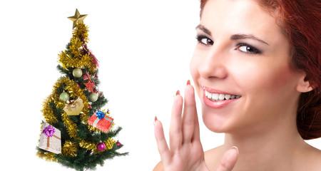 Beautiful Caucasian Women with green  Christmas Eve tree .