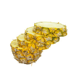Sliced pineapple isolated on white background with clipping path