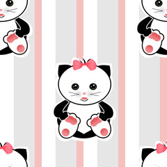 Seamless cartoon cats kids illustration striped background patte