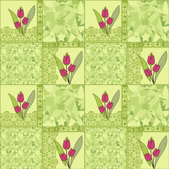 Patchwork seamless green lace pattern tulips background