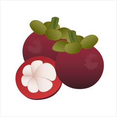 Mangosteen with on white background