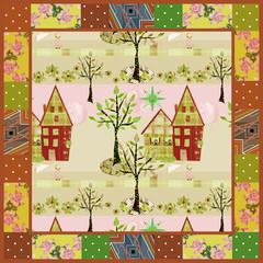 Seamless patchwork elements house garden cutout