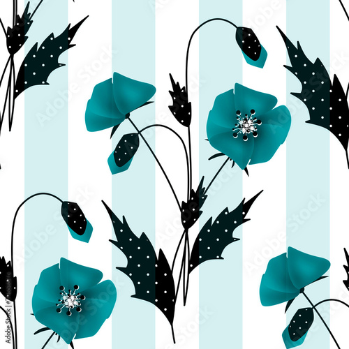 Seamless floral pattern with blue poppies background © fuzzyfox