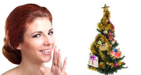 Beautiful Caucasian Women with green Christmas Eve tree