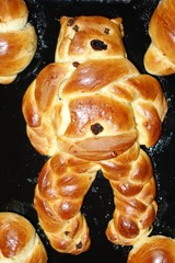 Sweet bread pastry devil on St. Nicholas day, vertical