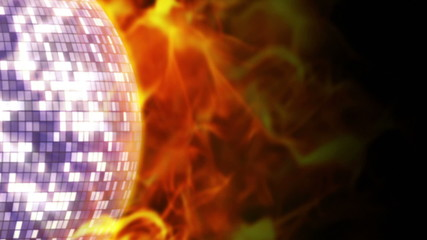 Fiery Disco Ball and Flames Background