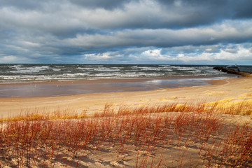 Stormy day at Baltic sea coast.