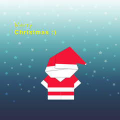Paper folding of Santa Claus in dark background among the stars