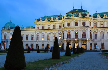 Beautiful view of famous Schloss Belvedere in Vienna, Austria