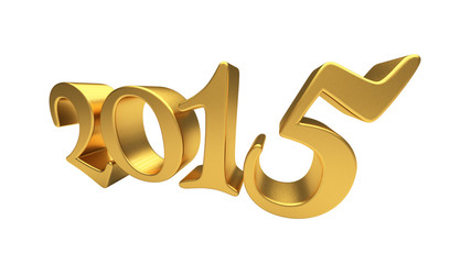 Gold 2015 lettering isolated