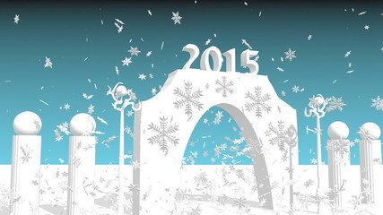 2015 year number on arch and snowflakes