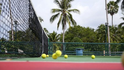 Tennis Club and Tennis Court with Balls in Tropics