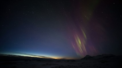 Arctic landscape with Northern Lights - Svalbard