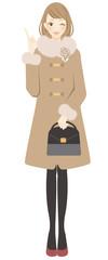 コートを着た女性 ポイント