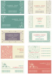 Vector Set of  business cards at retro style