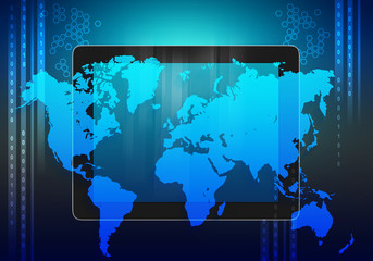 tablet and world map on an abstract background.