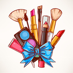 decorative cosmetics with blue ribbon
