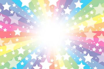 背景素材壁紙,虹,虹色,レインボー,七色,キラキラ星,キラキラ,星,スター,放射状,パーティー,カラフル,幸せ,幸福,喜び,天国