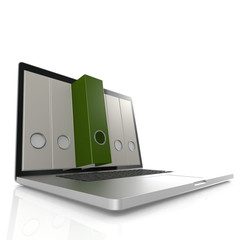 Laptop with green folder