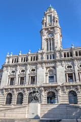 Facade of the City Hall in downtown Porto, Portugal