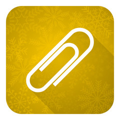 paperclip flat icon, gold christmas button