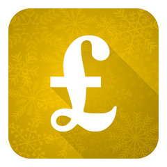 pound flat icon, gold christmas button