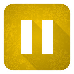 pause flat icon, gold christmas button