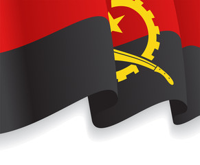 Background with waving Angolan Flag. Vector