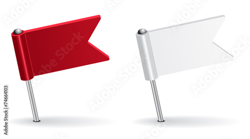 Red and white pin icon flag. Vector illustration - 74664103