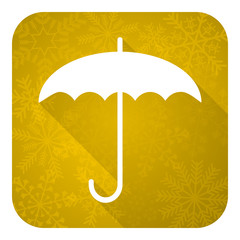 umbrella flat icon, gold christmas button, protection sign