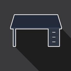 office desk in long shadow style
