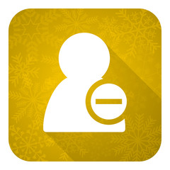 remove contact flat icon, gold christmas button
