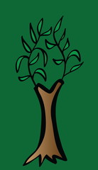 cartoon style tree icon isolated on green