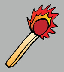 cartoon flaming match isolated illustration