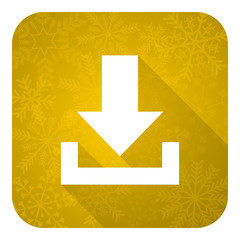 download flat icon, gold christmas button