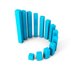 blue round successful growing bar chart graph on white backgroun