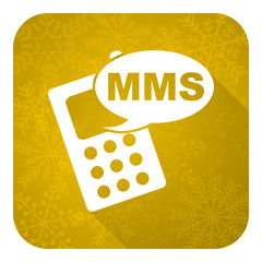 mms flat icon, gold christmas button, phone sign
