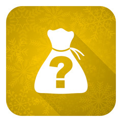 riddle flat icon, gold christmas button