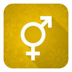 sex flat icon, gold christmas button, gender sign