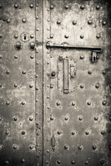 Old iron door - security and protection concept
