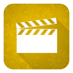 video flat icon, gold christmas button, cinema sign